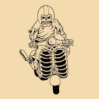 Hand getrokken schedel rijdende elektrische scooter