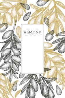 Hand getrokken schets amandel ontwerpsjabloon. biologisch voedsel vectorillustratie. retro moer illustratie. gegraveerde stijl botanische achtergrond.