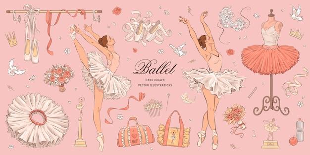 Hand getrokken schets ballet set