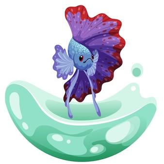 Hand getrokken schets betta vis, kleurrijke mooie fantail vis. aquariumvissen. illustratie.