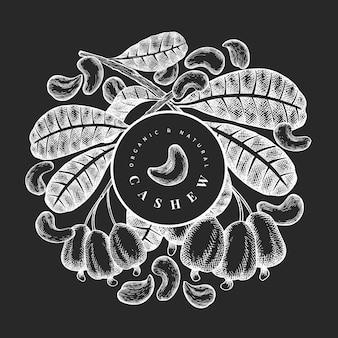 Hand getrokken schets cashew ontwerpsjabloon. biologisch voedsel vectorillustratie op schoolbord. vintage moer illustratie. gegraveerde stijl botanische achtergrond.