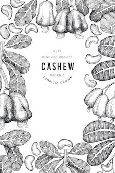 Hand getrokken schets cashew ontwerpsjabloon. biologisch voedsel vectorillustratie op witte achtergrond. vintage moer illustratie. gegraveerde stijl botanische achtergrond.
