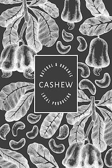 Hand getrokken schets cashew ontwerpsjabloon. biologische voeding illustratie op schoolbord. vintage moer illustratie.