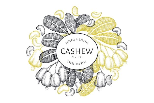 Hand getrokken schets cashew ontwerpsjabloon. biologische voeding illustratie op witte achtergrond.