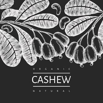 Hand getrokken schets cashew ontwerpsjabloon