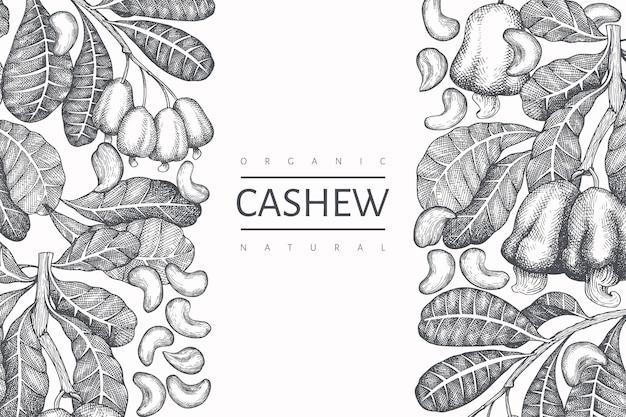 Hand getrokken schets cashew ontwerpsjabloon.