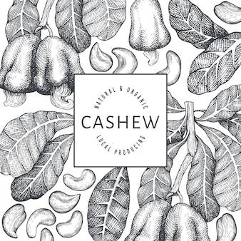 Hand getrokken schets cashew sjabloon voor spandoek
