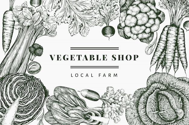Hand getrokken schets groenten ontwerp. biologisch vers voedsel. retro plantaardige achtergrond. gegraveerde stijl botanische illustraties.