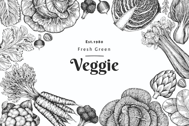 Hand getrokken schets groenten ontwerp.