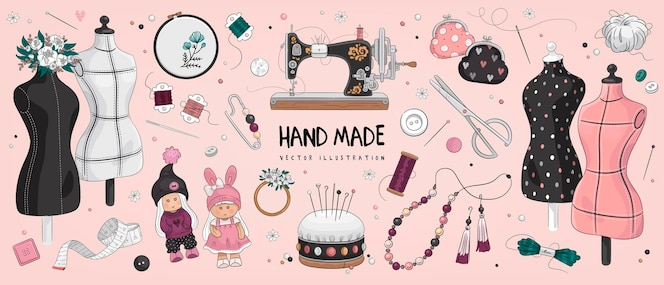 Hand getrokken schets handgemaakte set