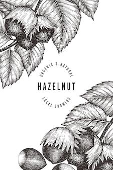 Hand getrokken schets hazelnoot sjabloon. biologische voeding illustratie op witte achtergrond.