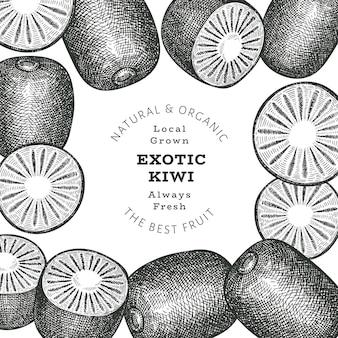 Hand getrokken schets kiwi labelsjabloon stijl