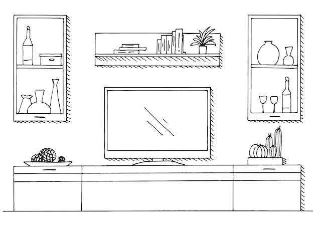 Hand getrokken schets. lineaire schets van het interieur. boekenkast, dressoir met tv en planken. vector illustratie
