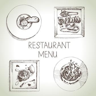 Hand getrokken schets restaurant eten set. europees keukenmenu. illustratie