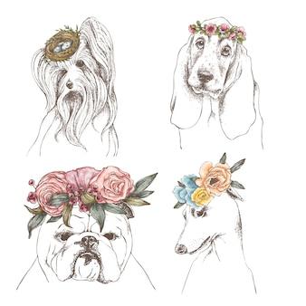 Hand getrokken schets set van grappige honden