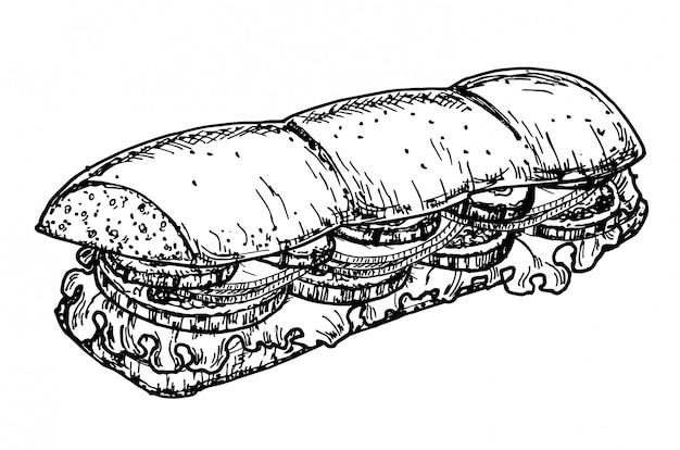 Hand getrokken schets steak subsandwich