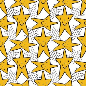 Hand getrokken schets sterren naadloze patroon. kinderachtige achtergrond voor textiel of verpakking