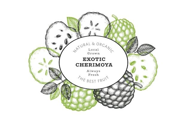 Hand getrokken schets stijl cherimoya. biologische vers fruit illustratie. gegraveerde stijl botanische ontwerpsjabloon.