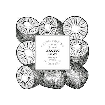 Hand getrokken schets stijl kiwi banner. biologische vers fruit vectorillustratie. ontwerpsjabloon voor retro kiwi's