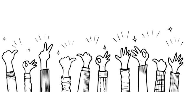 Hand getrokken schets stijl van applaus, duimschroef opwaarts gebaar. menselijke handen klappen ovatie. op doodle stijl, vectorillustratie.