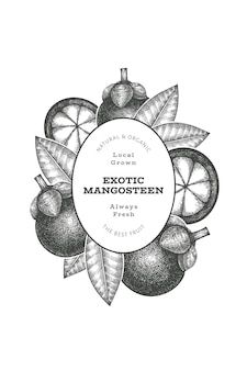Hand getrokken schets stijlsjabloon mangosteen ontwerp. biologische vers voedsel vectorillustratie op witte achtergrond. retro fruitbanner.