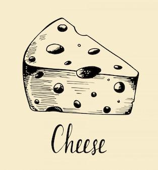 Hand getrokken schets stuk kaas