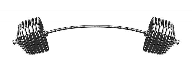 Hand getrokken schets van barbell in zwart-wit