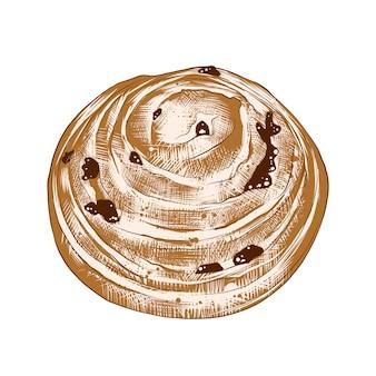 Hand getrokken schets van broodje met rozijnen