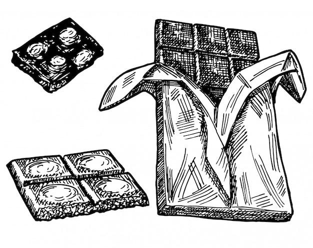 Hand getrokken schets van chocolade op een wit. oude gravure imitatie. chocolade handgetekende schets imitatie. hele chocolade en stukjes.