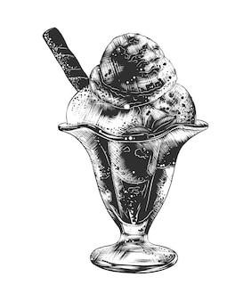 Hand getrokken schets van consumptie-ijs in ijscoupe kom