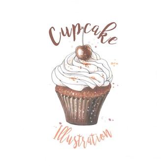 Hand getrokken schets van cupcake met chokolate cherry