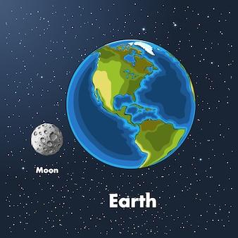 Hand getrokken schets van de planeet aarde en de maan in kleur, tegen de achtergrond van de ruimte.
