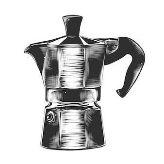 Hand getrokken schets van geiser koffiezetapparaat