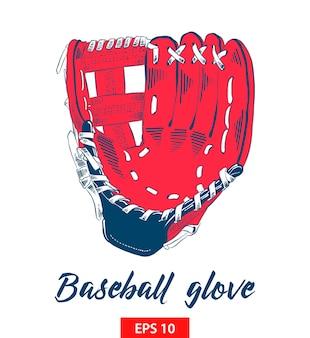 Hand getrokken schets van honkbalhandschoen in kleur