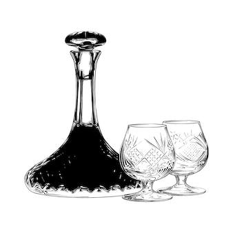 Hand getrokken schets van joodse wijn in het zwart