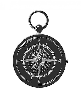 Hand getrokken schets van kompas in zwart-wit