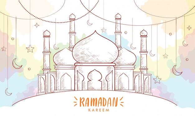 Hand getrokken schets van lantaarn voor ramadan wenskaart met aquarel achtergrond.