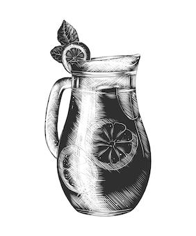 Hand getrokken schets van limonadeglas in zwart-wit