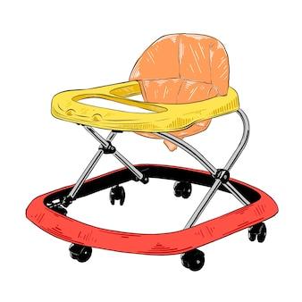 Hand getrokken schets van loopstoeltje in kleurrijke geïsoleerd op een witte achtergrond