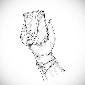 Hand getrokken schets van menselijke rechterhand met behulp van of slimme mobiele telefoon
