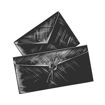 Hand getrokken schets van papieren brief in zwart-wit