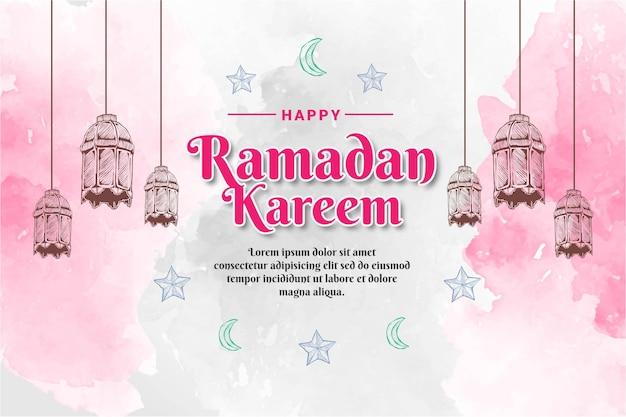 Hand getrokken schets van ramadan kareem-lantaarn met aquarel achtergrond