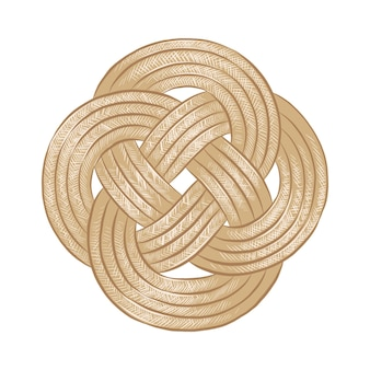 Hand getrokken schets van touw knoop in kleurrijke gedetailleerde vintage houtsnede stijl tekening