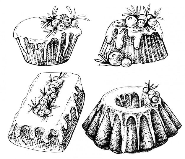Hand getrokken schets van traditionele kerst gerechten, cake. kerstmisillustratie met traditionele pudding.