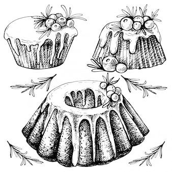Hand getrokken schets van traditionele kerst gerechten, cake.