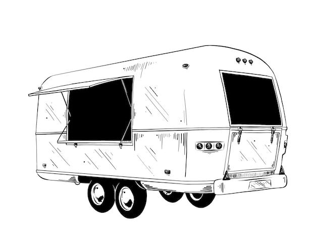 Hand getrokken schets van voedselvrachtwagen in zwarte