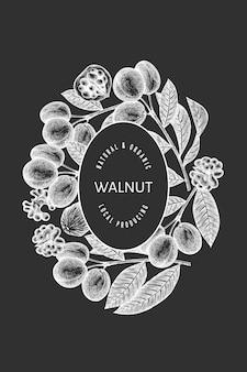 Hand getrokken schets walnoot labelsjabloon