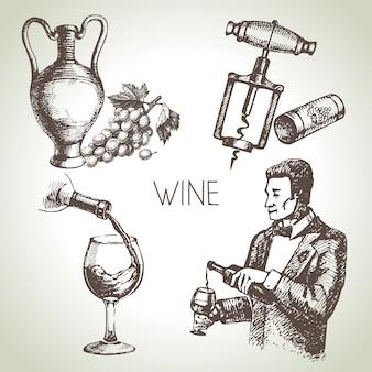 Hand getrokken schets wijnset