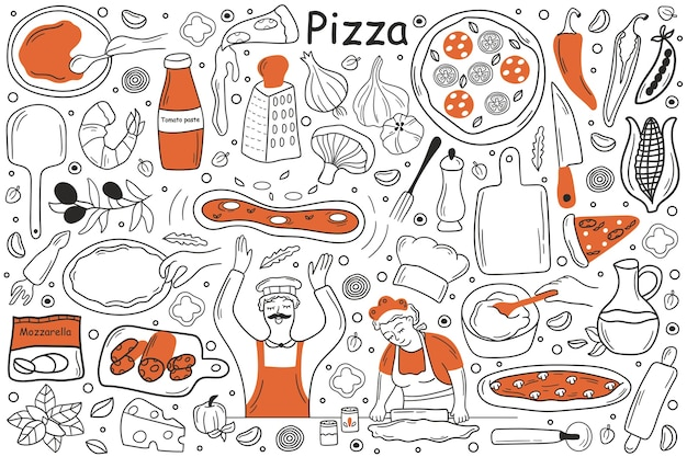 Hand getrokken schetsen van man fornuis chef-kok met pepperoni in keuken.
