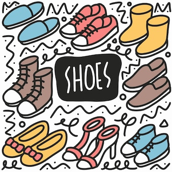 Hand getrokken schoenen doodle set met pictogrammen en ontwerpelementen